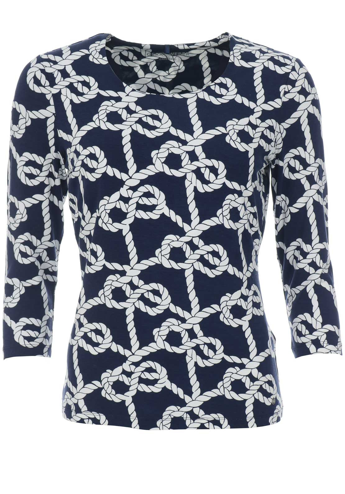 Gerry Weber Rope Print Top, Navy & White