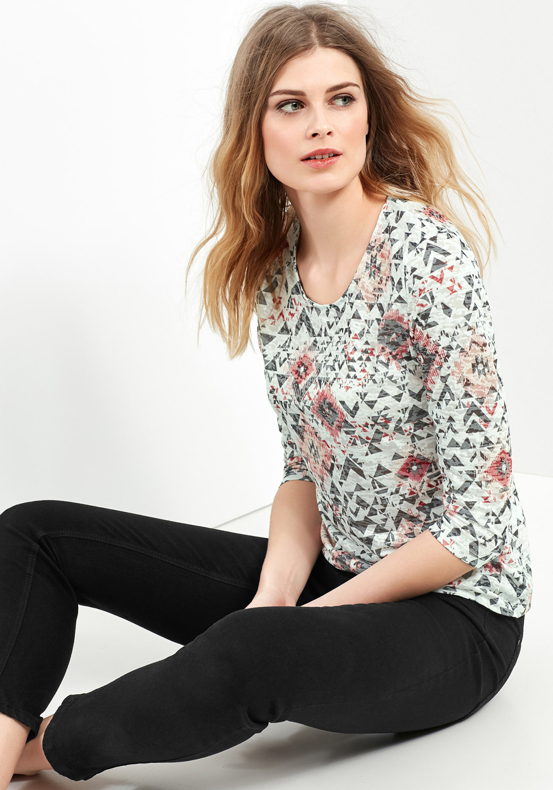 Gerry Weber Graphic Print Top, White Multi