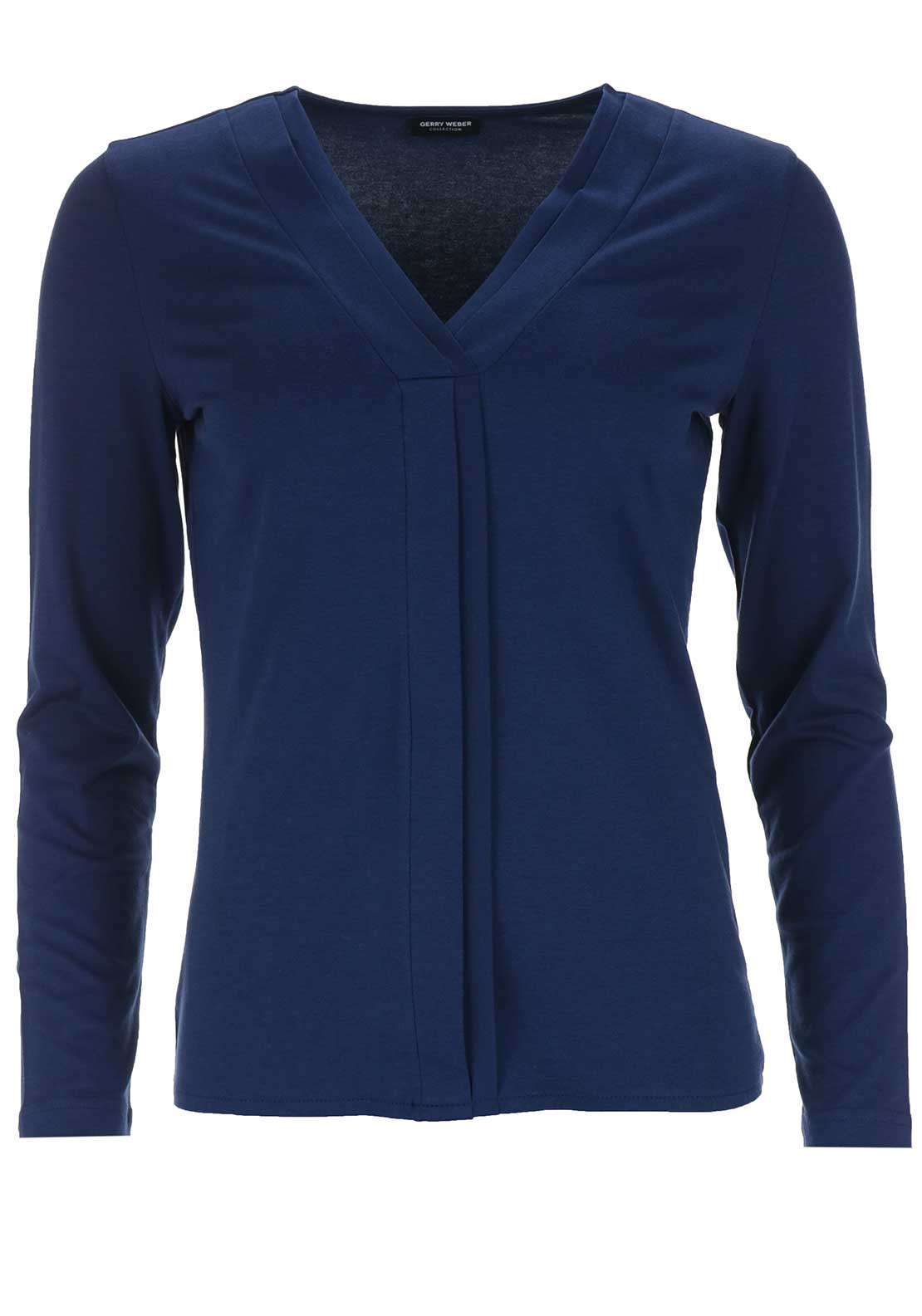 Gerry Weber V-Neck Long Sleeve Top, Navy