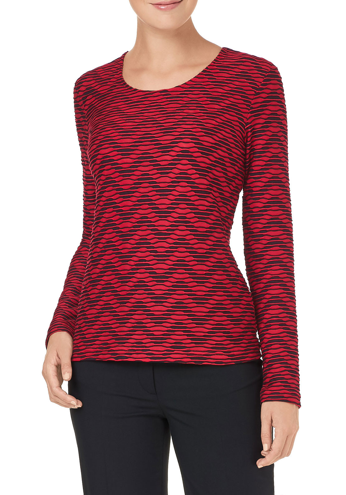Gerry Weber Textured Print Top, Red & Black