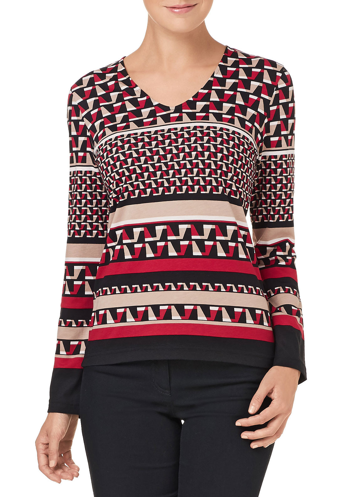 Gerry Weber Geometric Print V-Neck Top, Red Multi