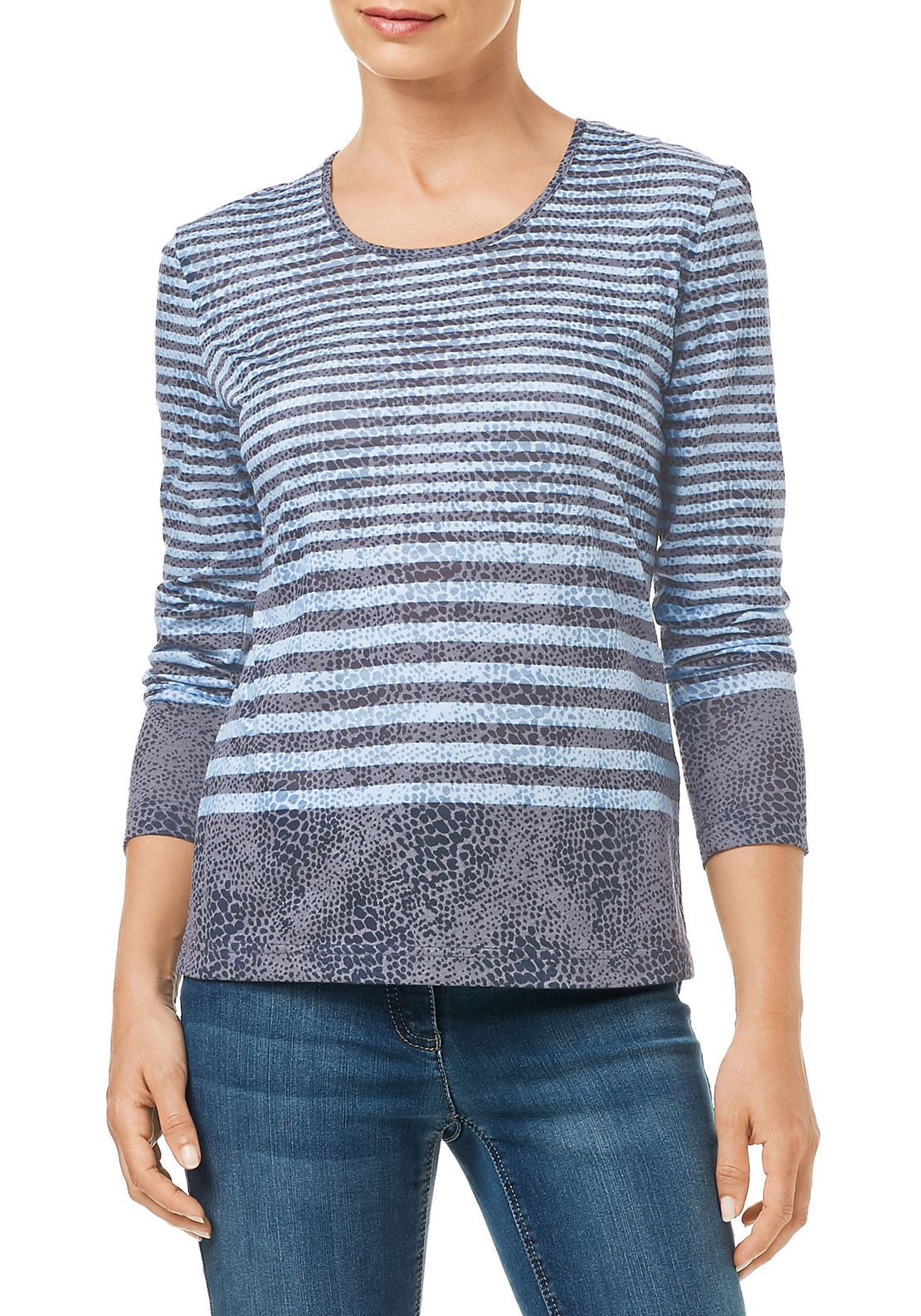 Gerry Weber Striped Long Sleeve Top, Blue