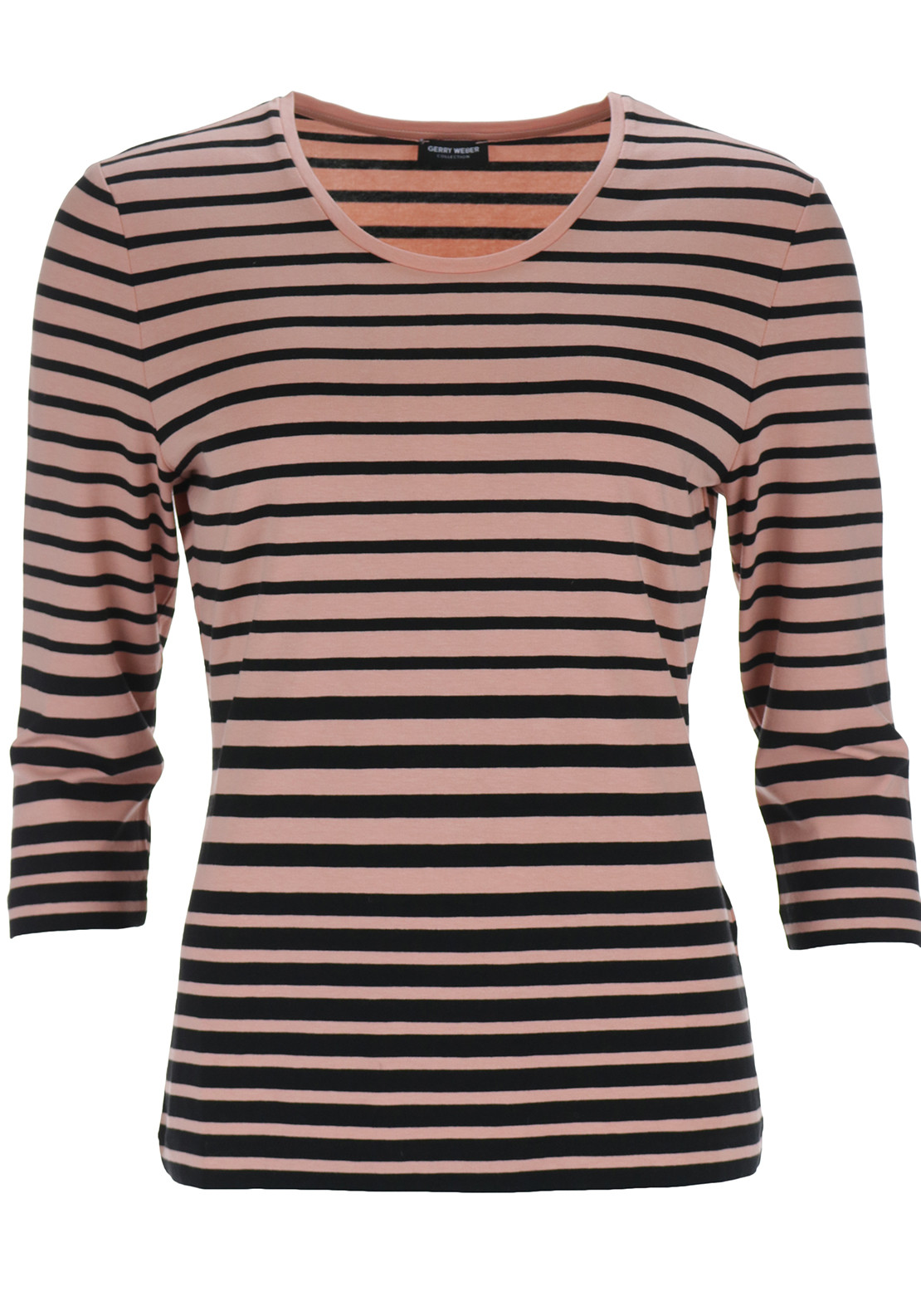 Gerry Weber Striped Cropped Sleeve Top, Peach & Black
