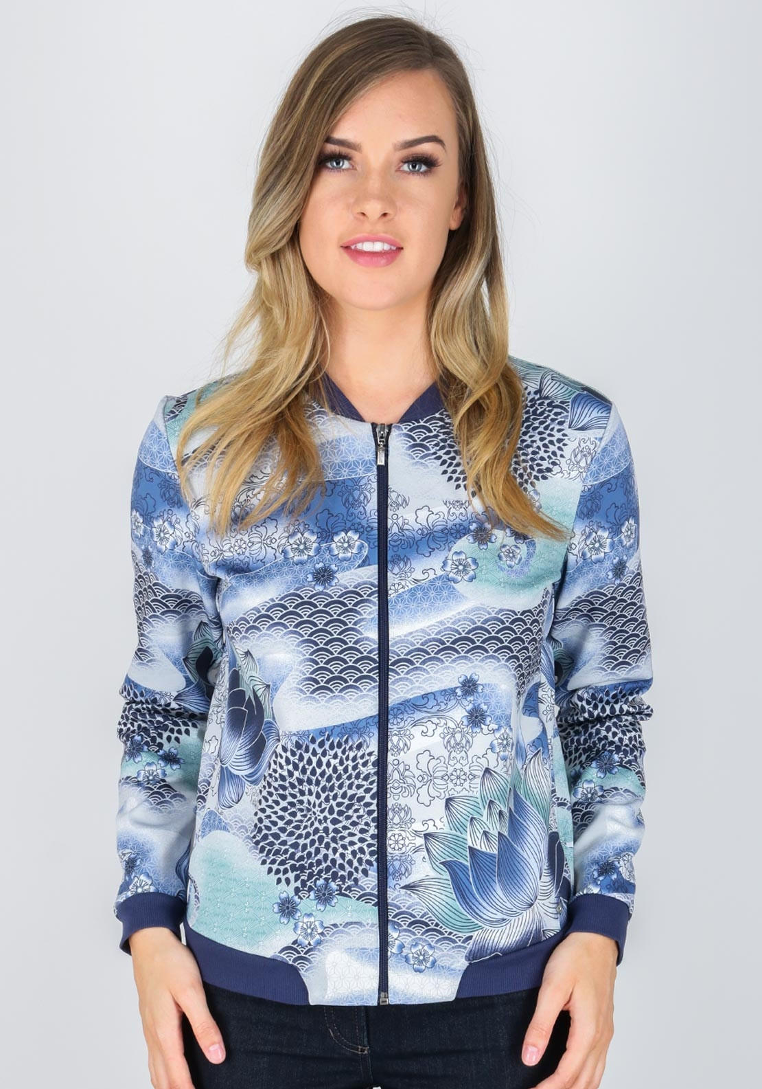 Sweatshirt with an all-over print blue female Gerry Weber Factory Outlet Cheap Price Shopping Online Original Recommend In China Cheap Online Outlet Manchester qBacaWI5
