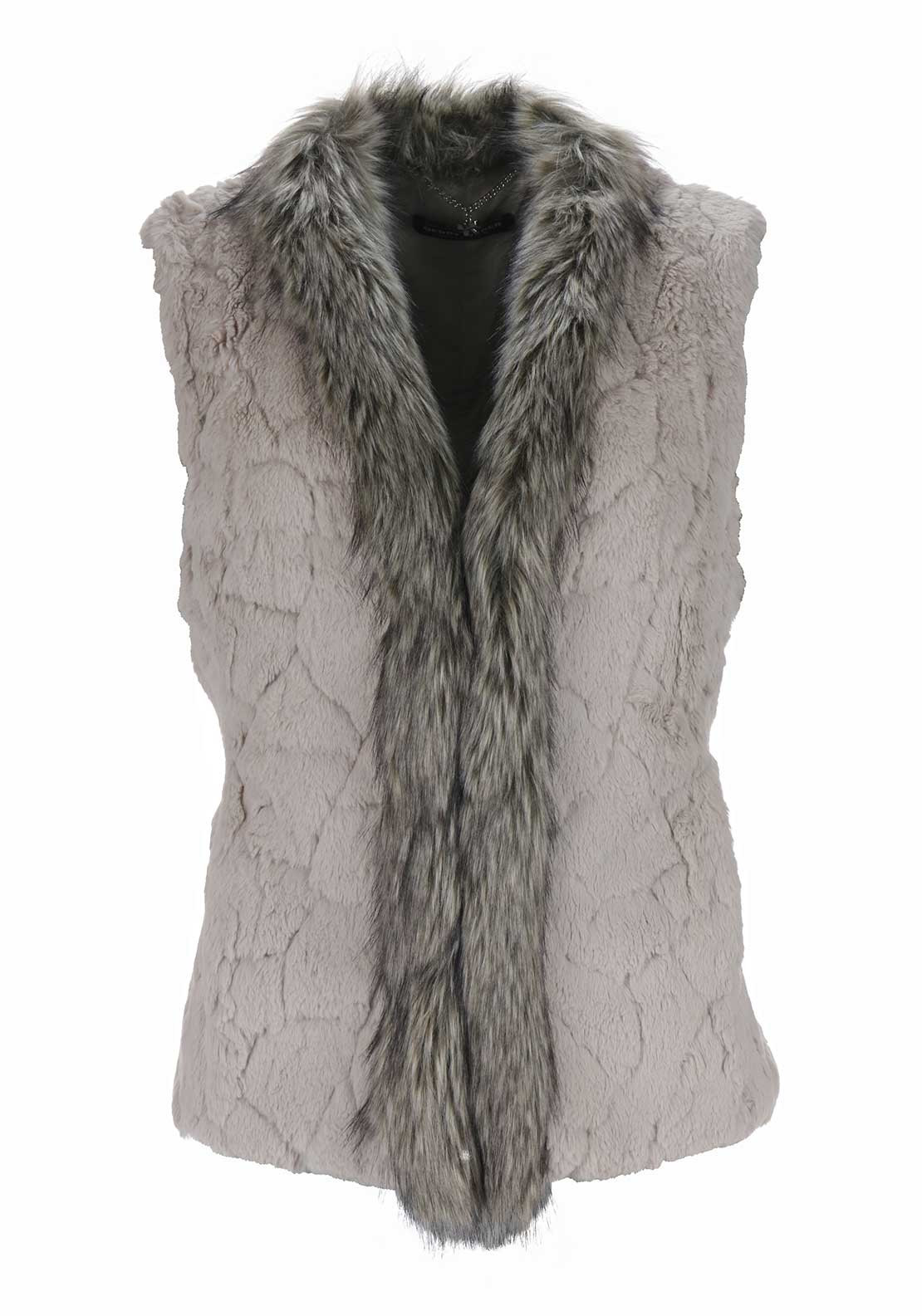 Gerry Weber Faux Fur Gilet, Taupe