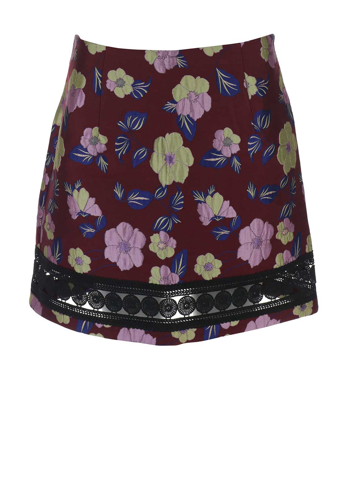 Glamorous Satin Embroidered Floral Skirt, Burgundy