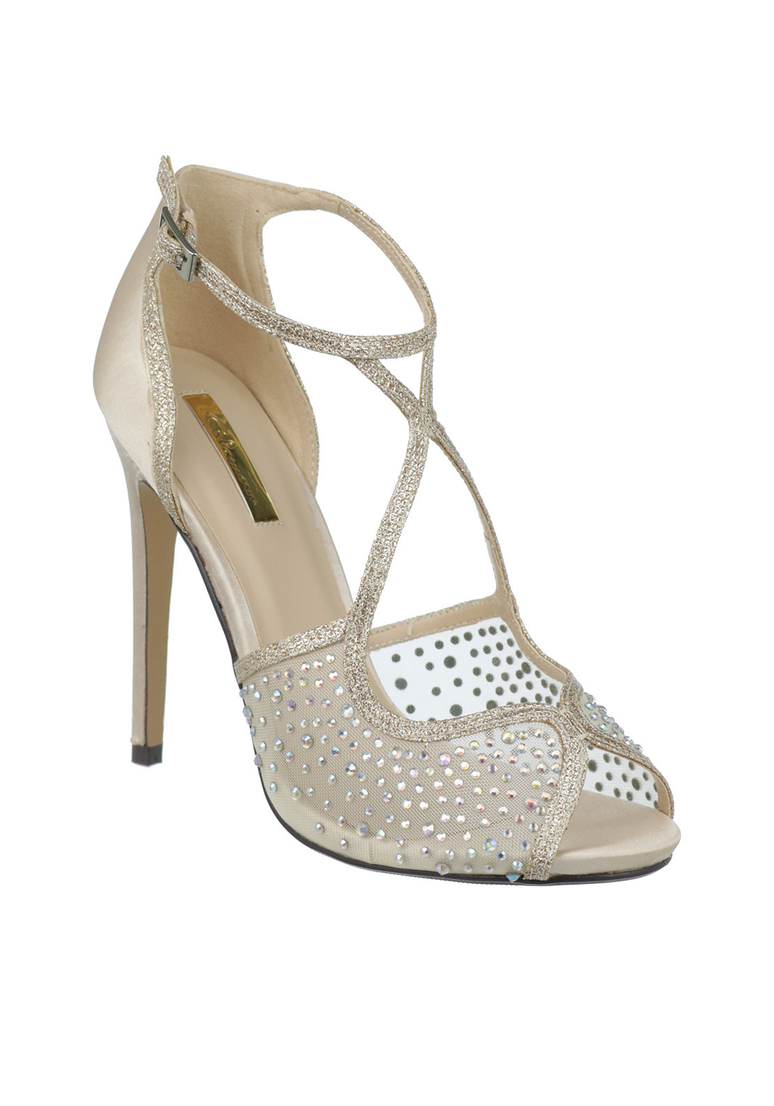 Glamour Embellished Strappy Heeled Sandals, Nude
