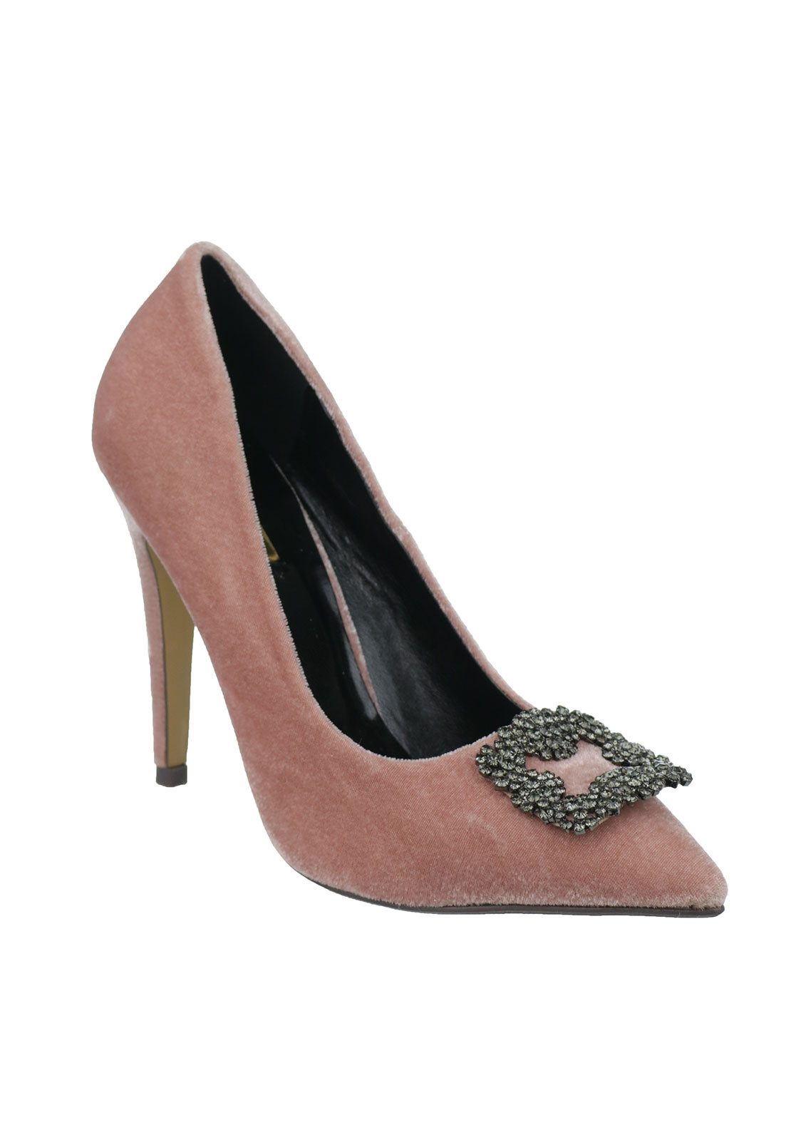 Glamour Velvet Pointed Toe Heeled Shoes, Pink