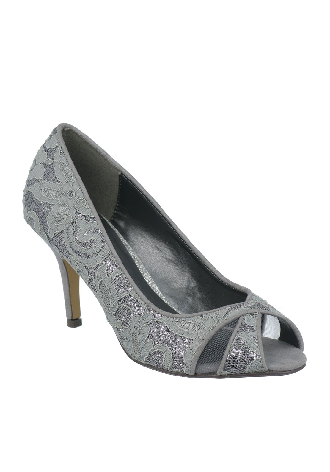 Glamour Lace Peep Toe Heeled Shoes, Silver