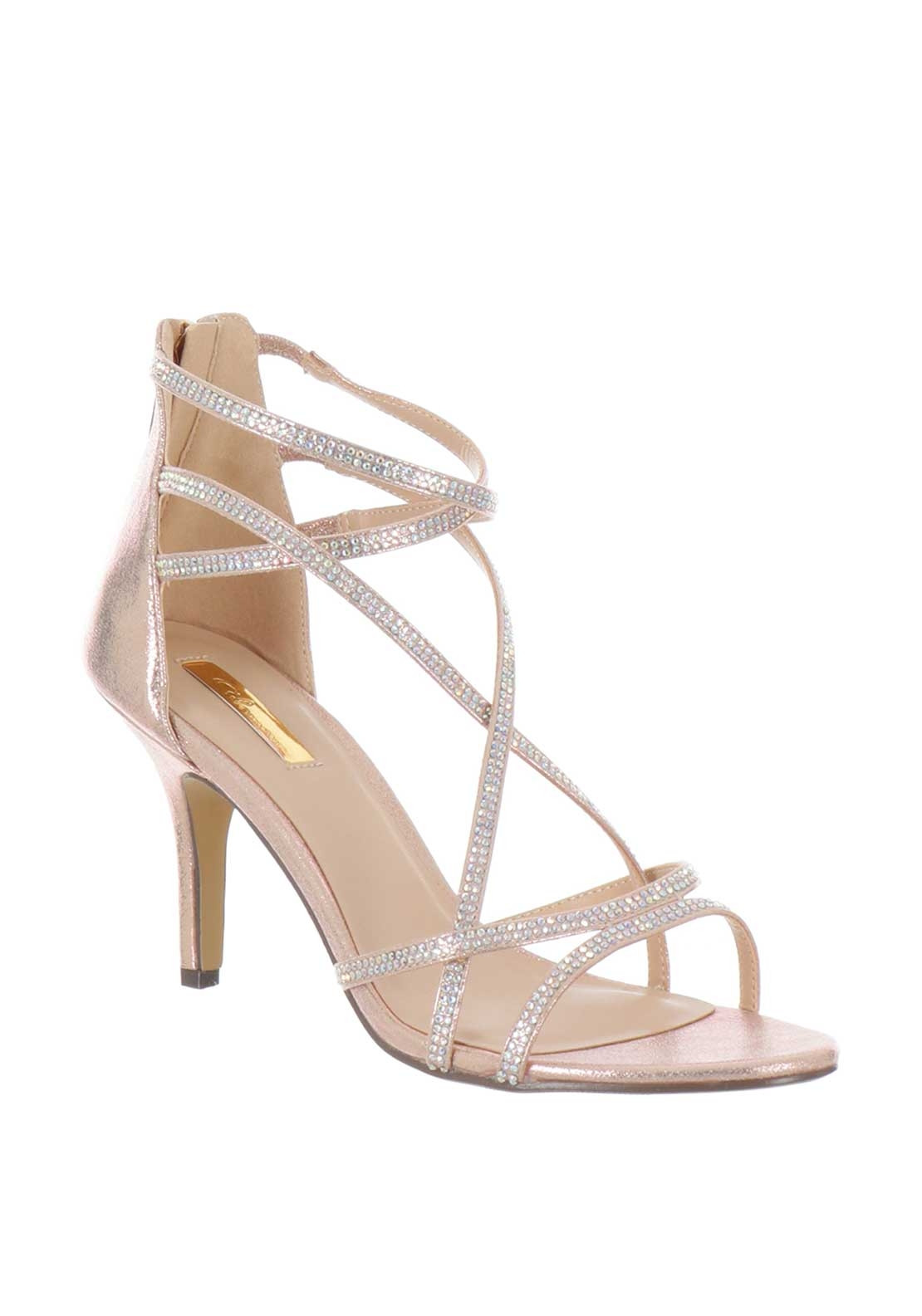164e966bcbc Glamour Lottie Diamante Strap Mid Heel Sandals