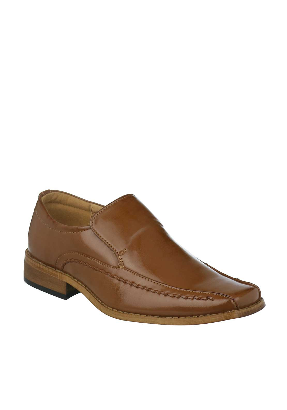 Goor Boys Formal Patent Loafer Shoe, Tan
