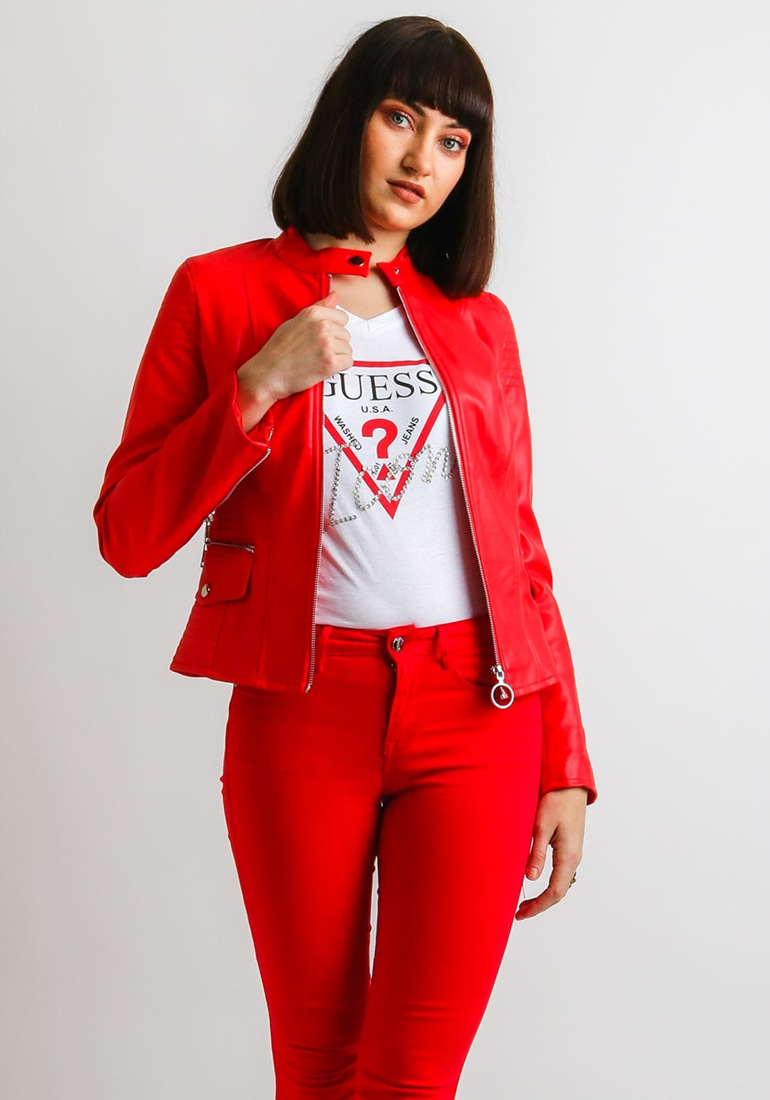 888dff36 Guess Womens Faux Leather Jacket, Red. Be the first to review this product