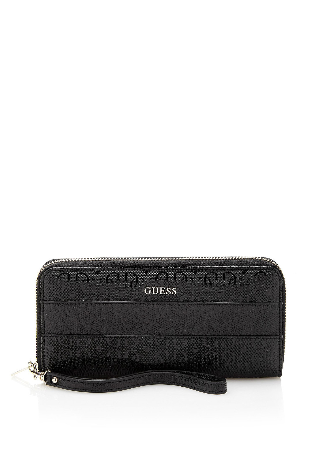 Guess Janette Zip around Medium Wristlet Purse, Black