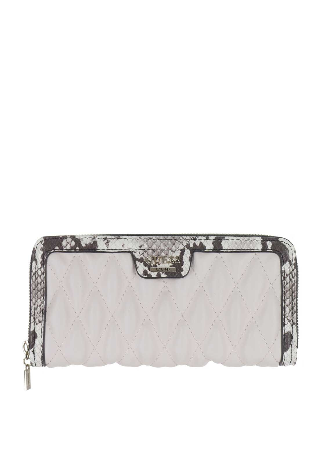 Guess Cate Zip Around Wristlet Purse, White Snake Print