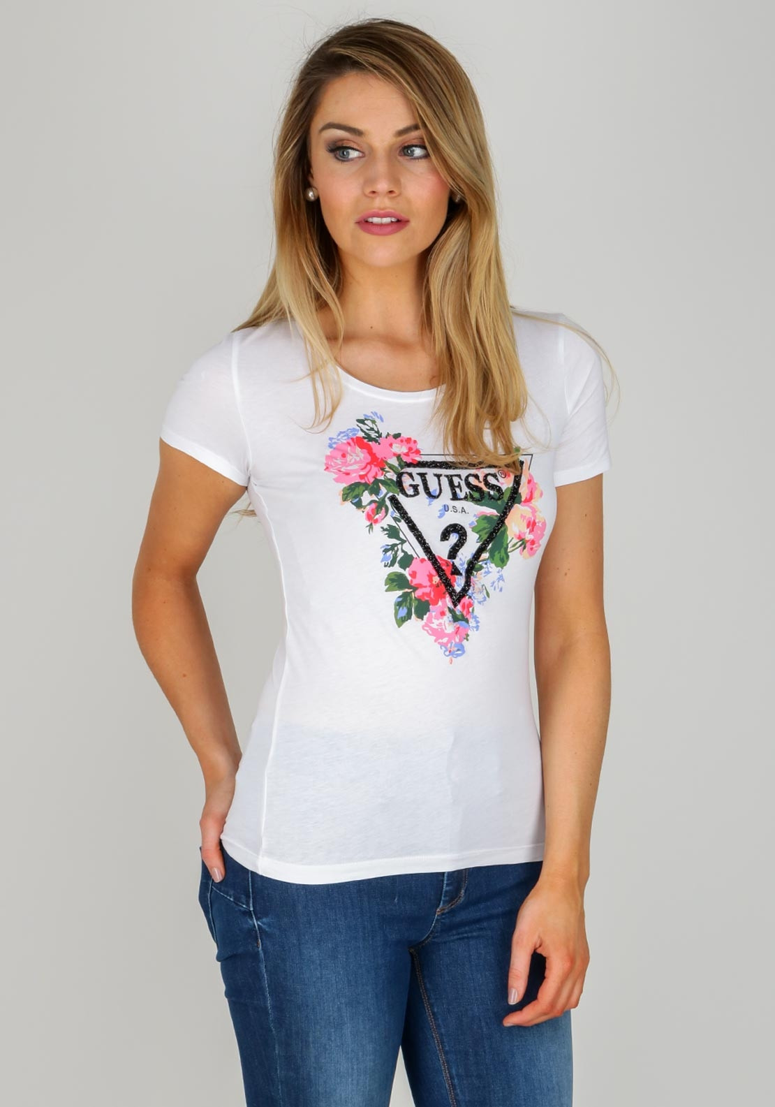 ee62d17be9bb Guess Womens Floral Gem Logo T-Shirt, White. Be the first to review this  product