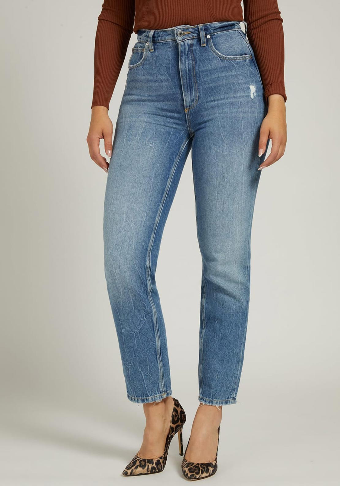 Guess Relaxed Fit Mom Jeans, Blue