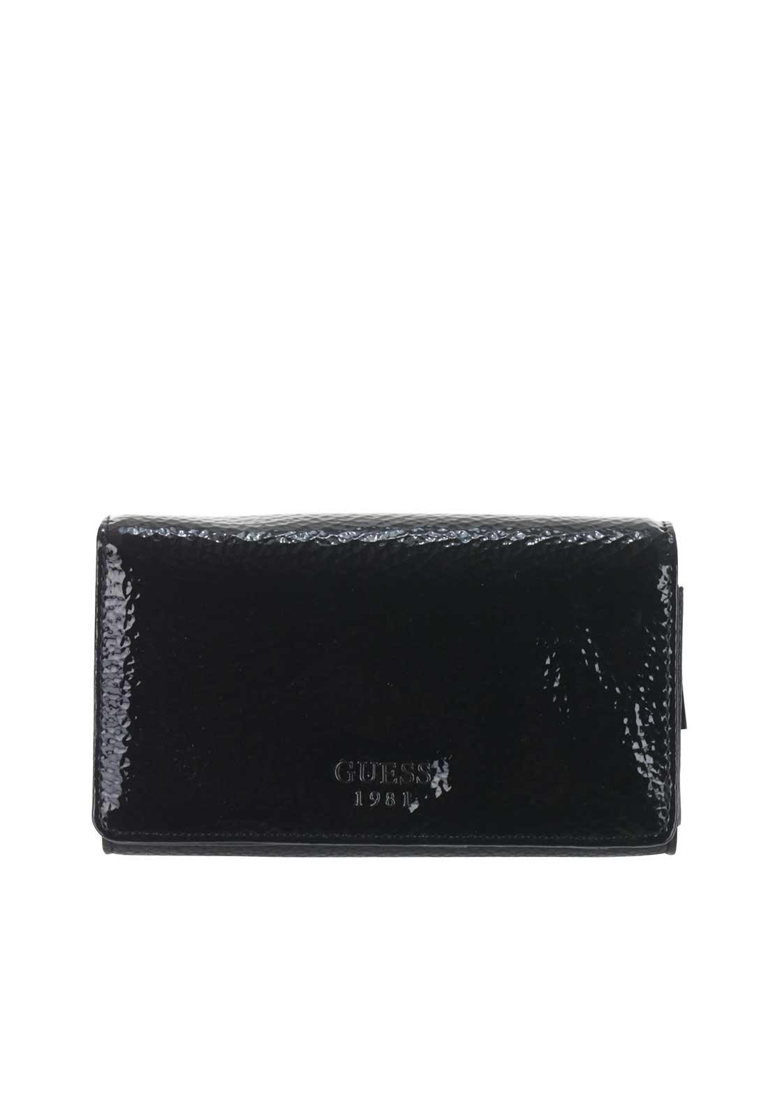 Guess Cate Patent-Look SLG Rollover Case Purse, Black