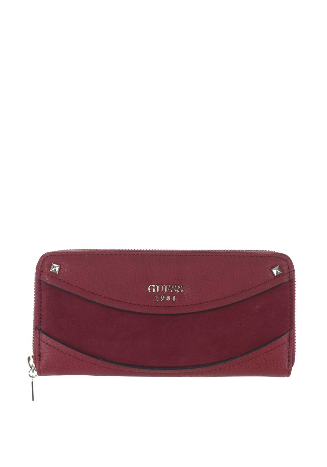 Guess Solene SLG Suede Insert Zip Around Purse, Bordeaux