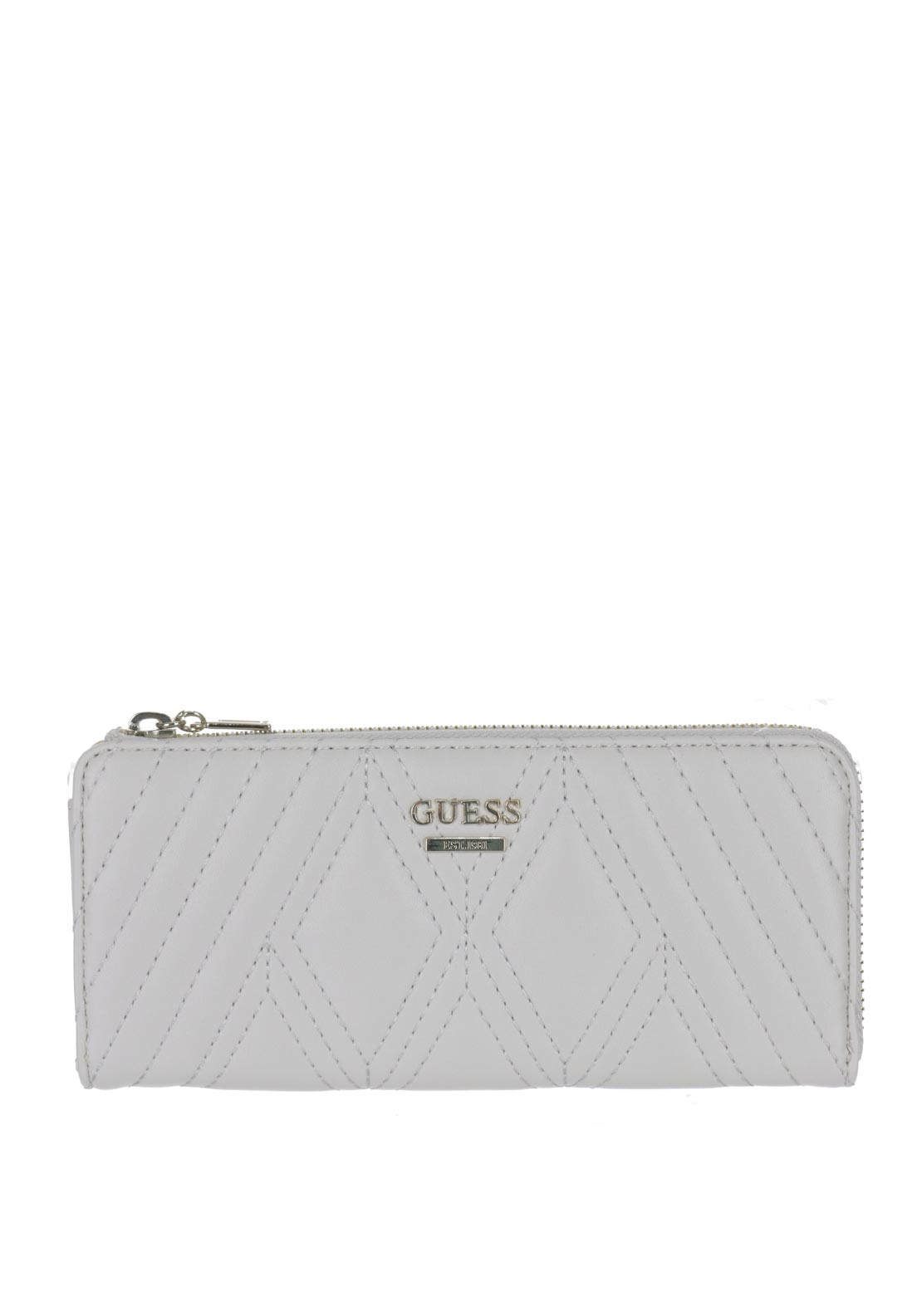 Guess Shea Quilted Large Zip Around Purse, Bone