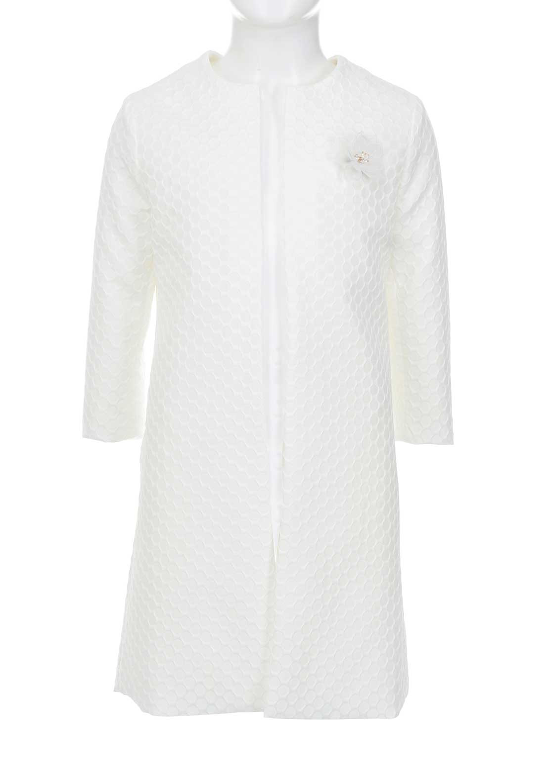 GYMP Girls Embossed Jacket with Brooch, Ivory