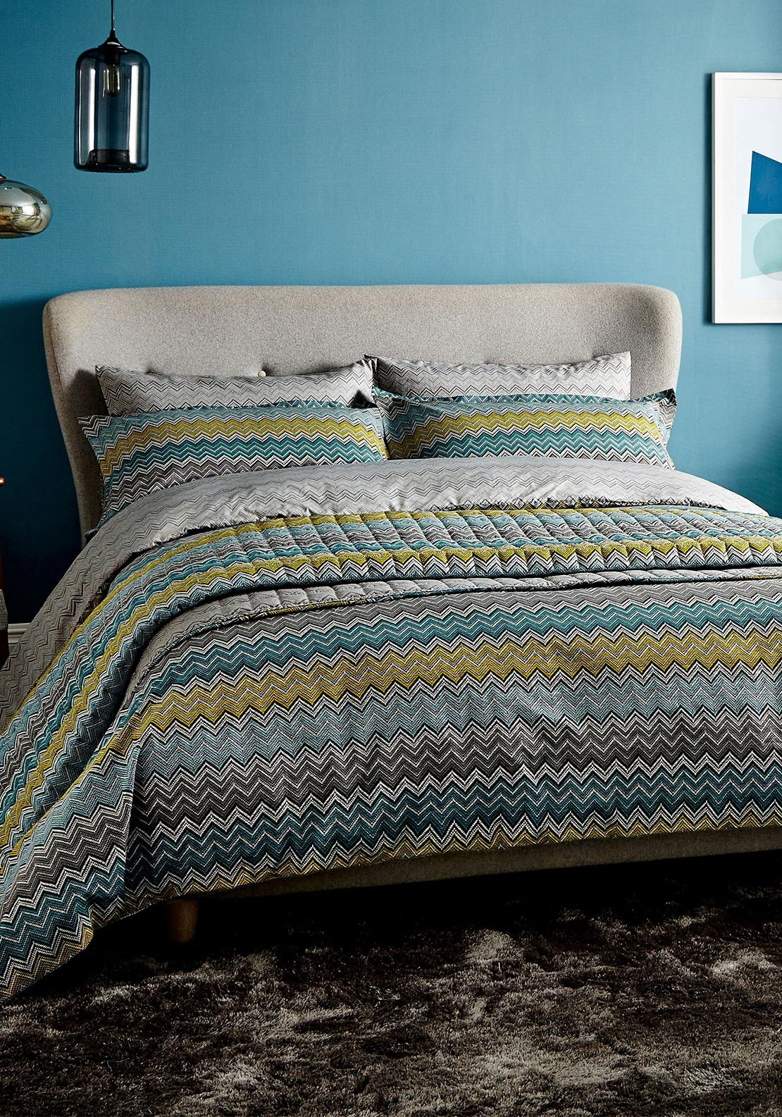 Harlequin Chevron Zig Zag Duvet Cover Set, Blue