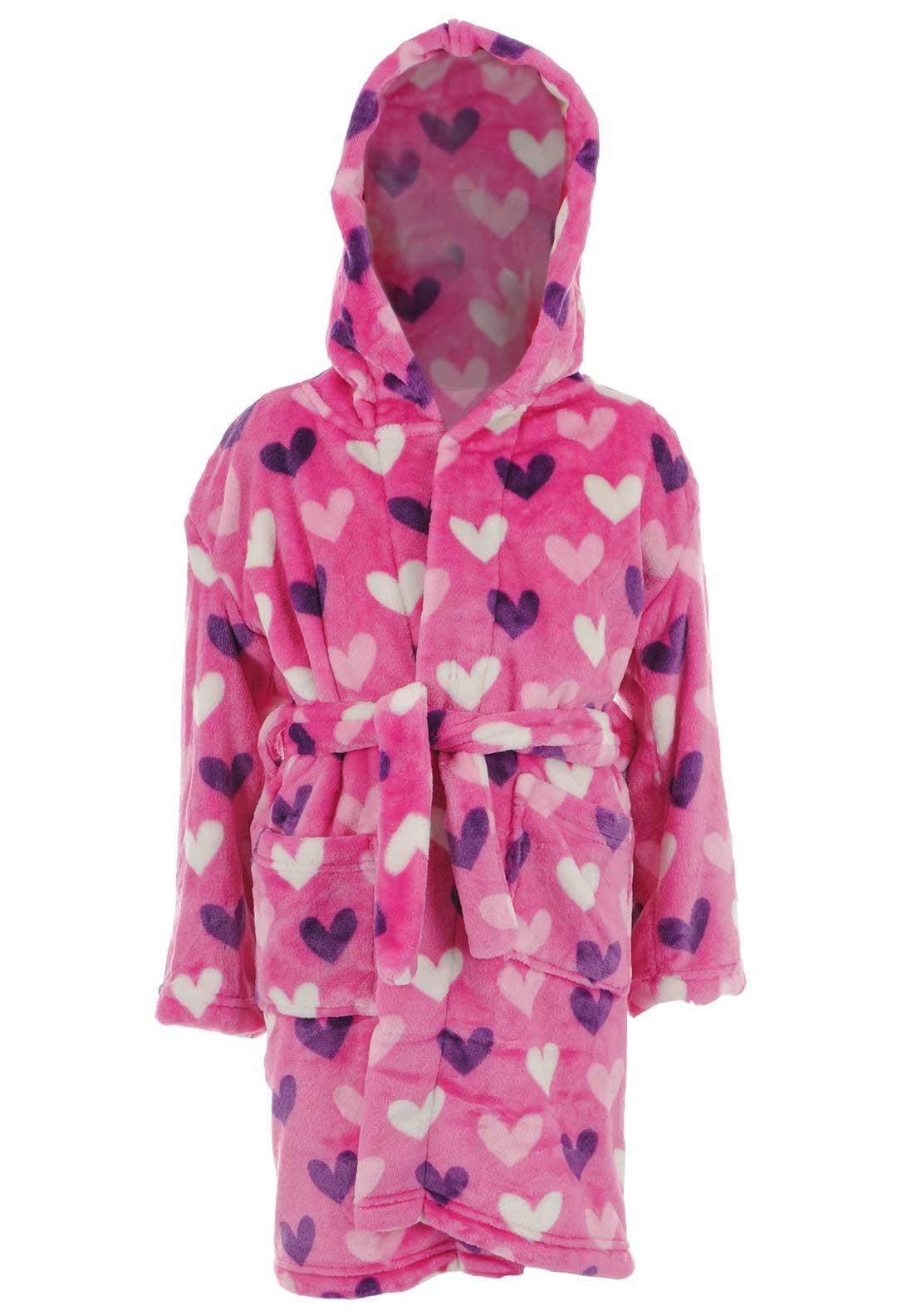 Hatley Girls Hearts Fleece Dressing Gown, Pink