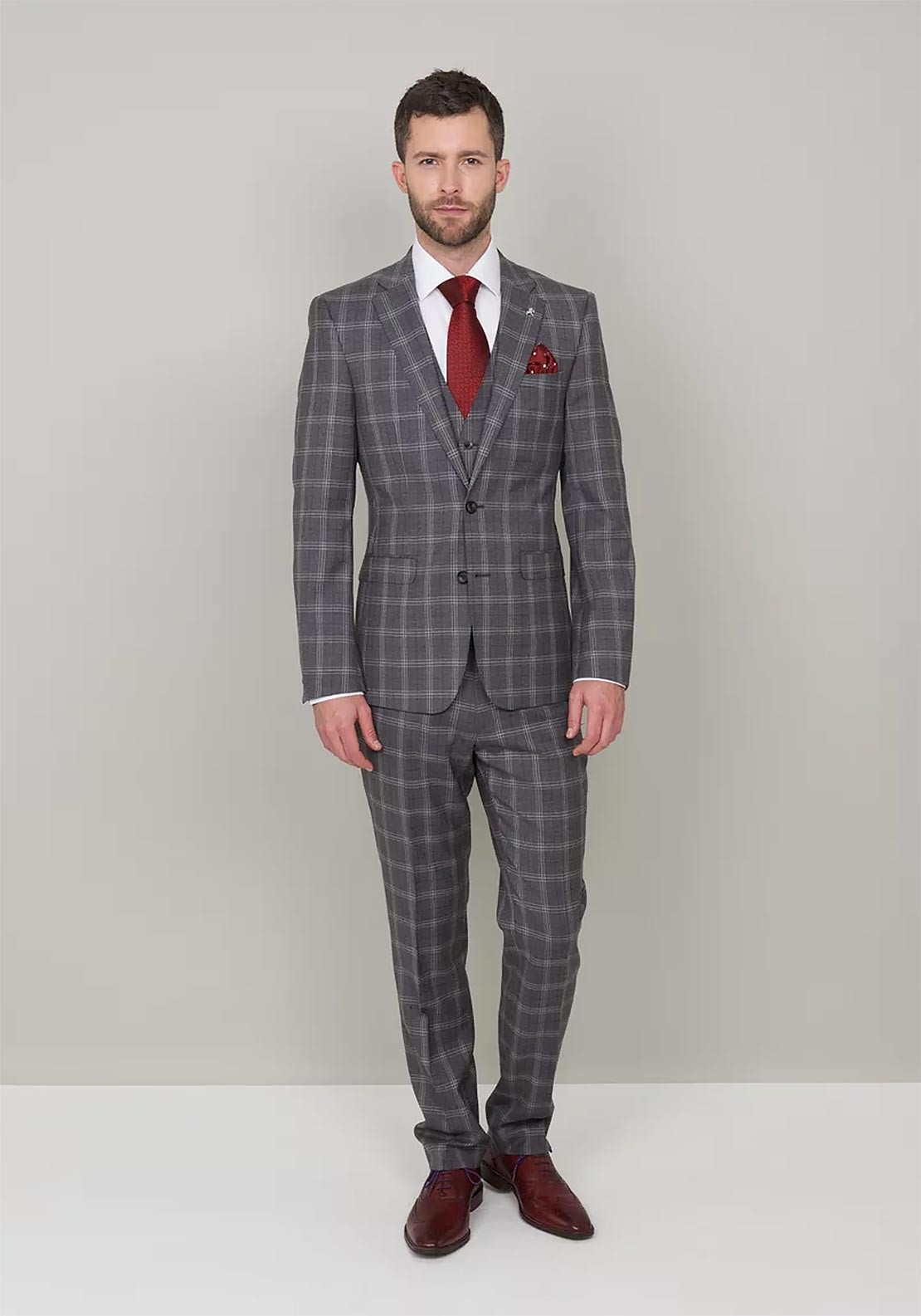 Herbie Frogg Grey Check 3-Piece suit | McElhinneys | McElhinneys