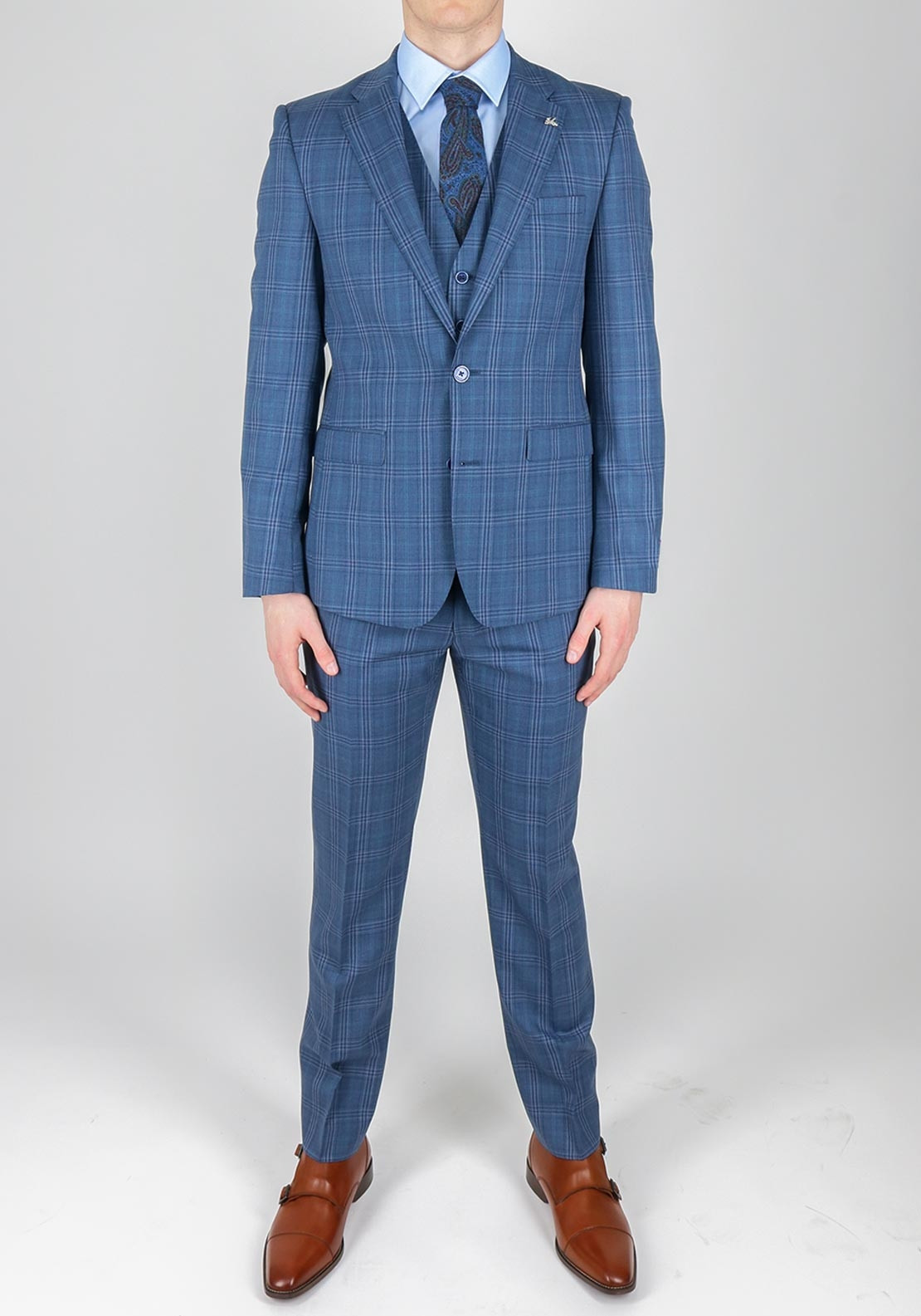 Herbie Frogg Blue Bold Check 3 Piece Suit | McElhinneys