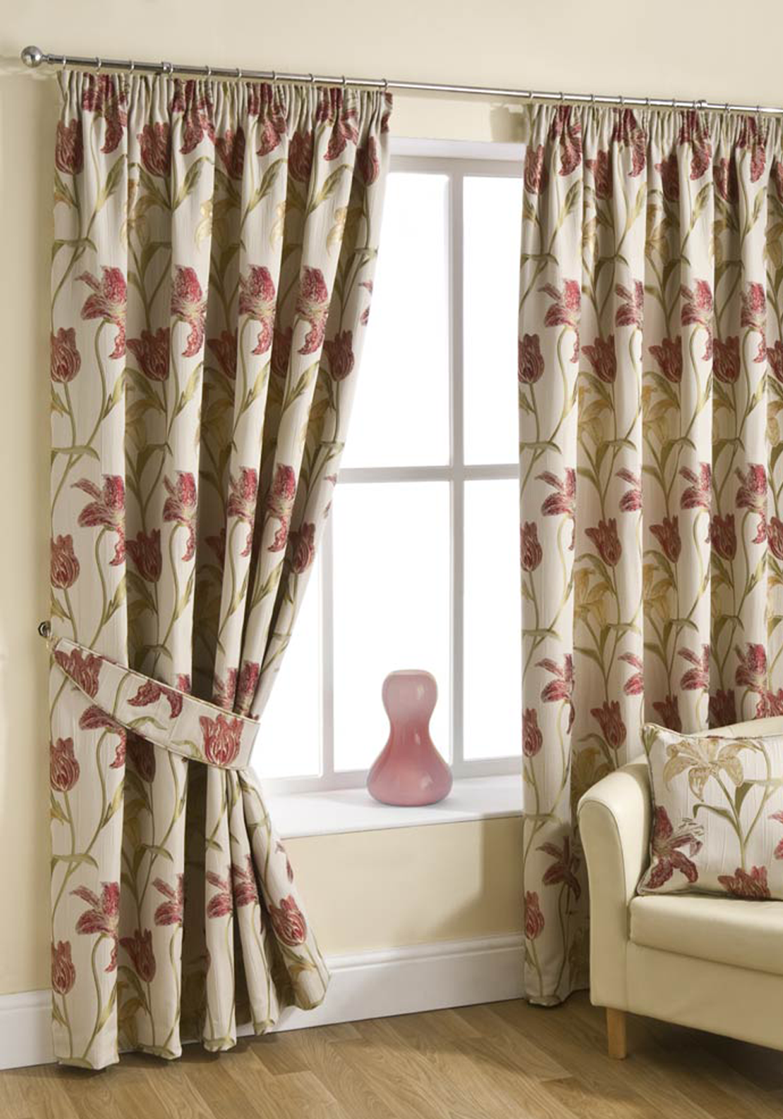 "Hickeys Lily Ready Made Pencil Pleat Curtains 90"" X 90"", Red"