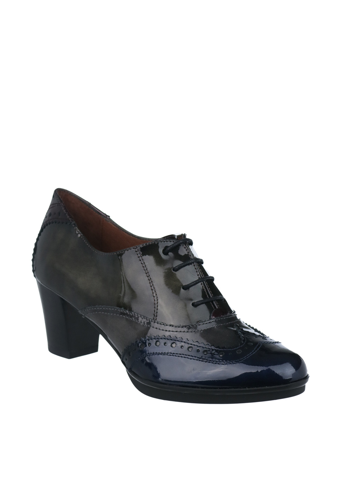 Hispanitas Patent Leather Heeled Brogues, Multi-Coloured