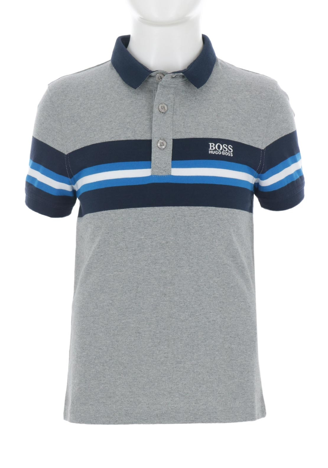 09c1aeaea Hugo Boss Boys Striped Polo Shirt, Grey | McElhinneys
