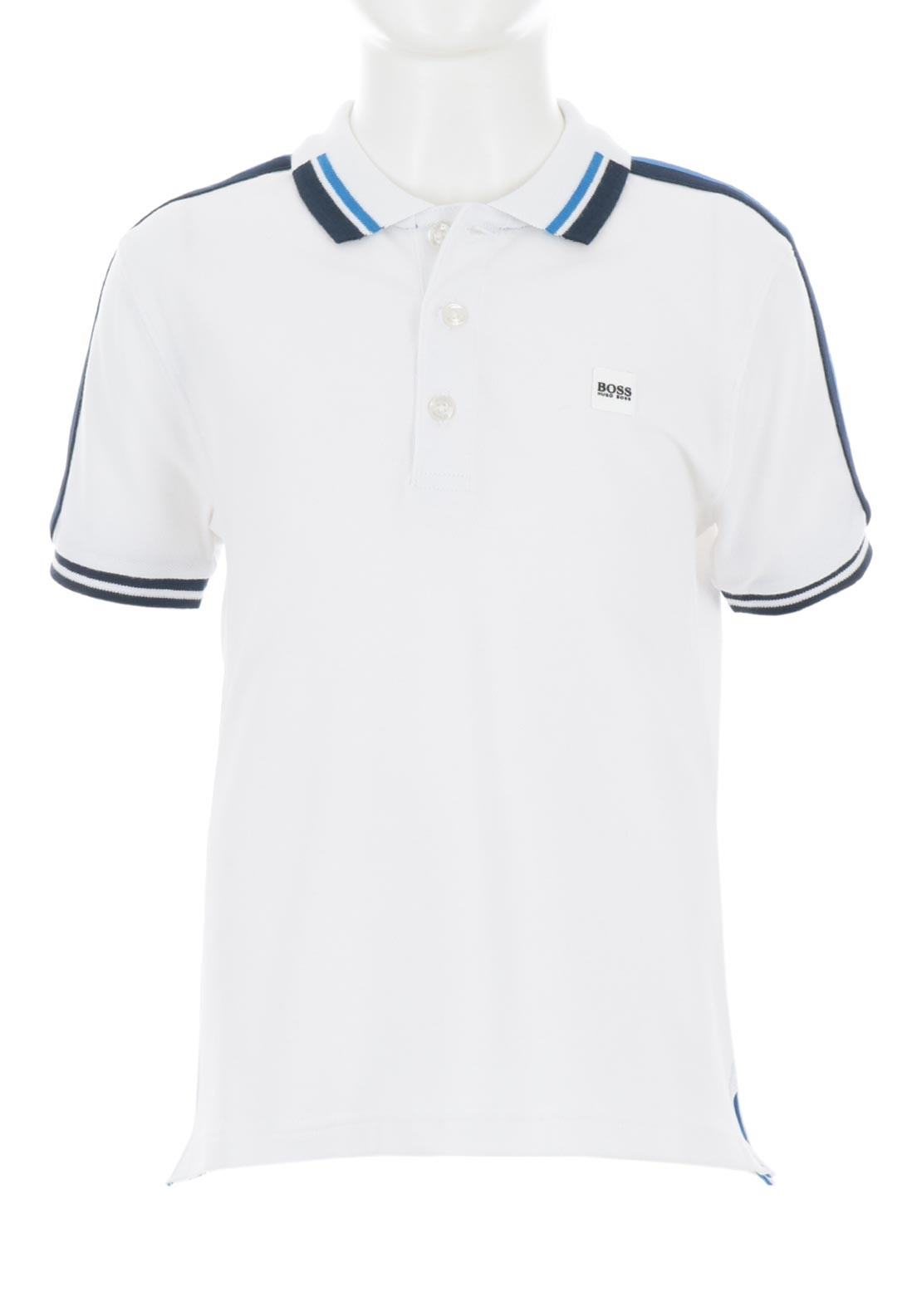 cff979fa8 Hugo Boss Boys Contrast Stripe Polo Shirt, White | McElhinneys