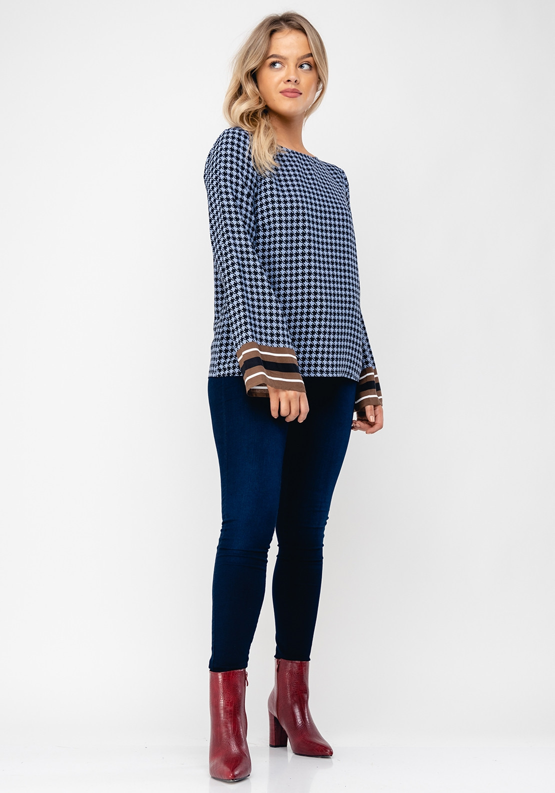 Ichi Kaylie Houndstooth Flare Sleeve Top, Blue