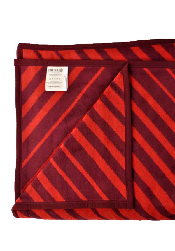 Ibena Jacquard Decke Messina Blanket, Red Stripe