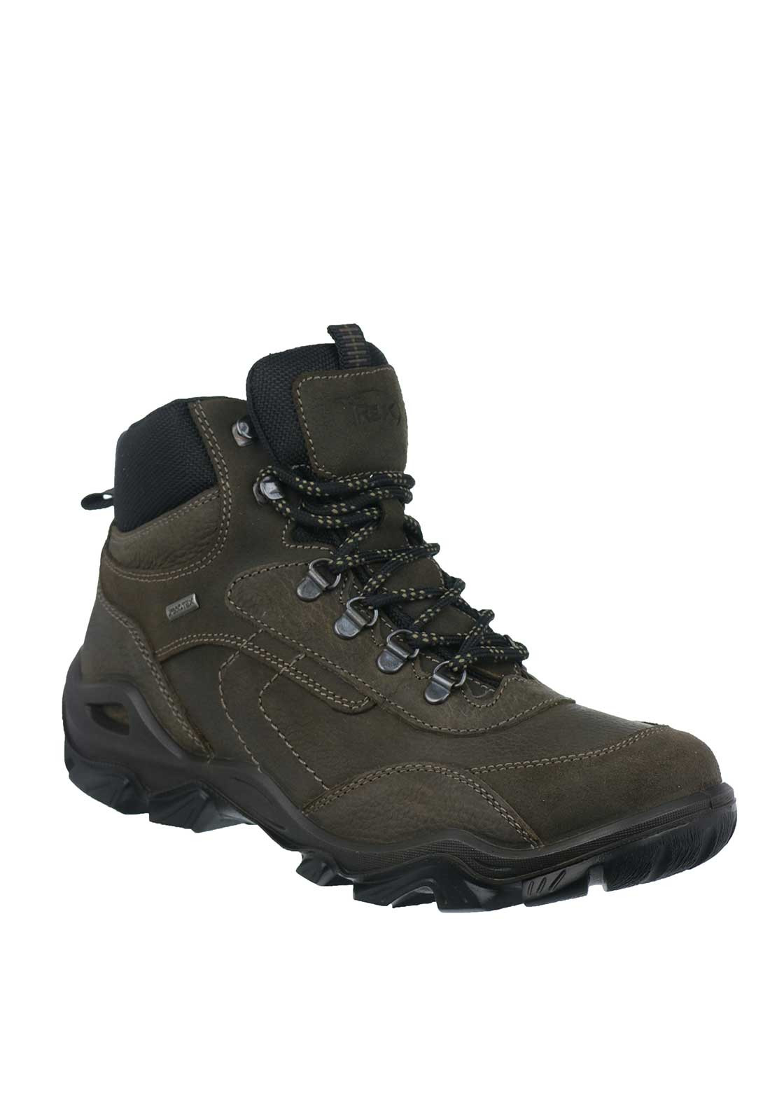IMAC Mens Leather Mid Trek Waterproof Lace Up Comfort Fit Boots, Brown