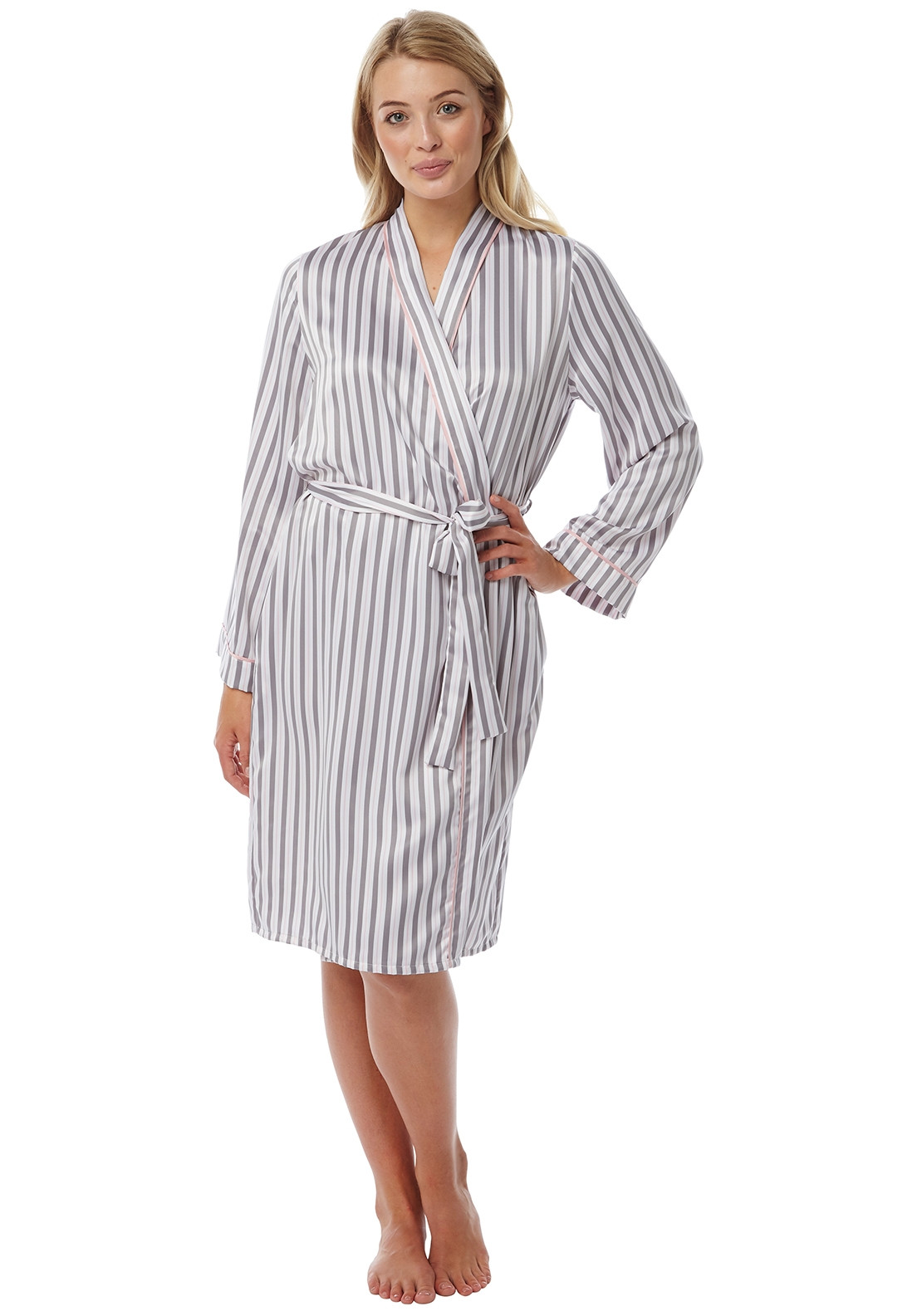 reliable reputation running shoes search for clearance Indigo Sky Stripe Print Satin Dressing Gown, Grey