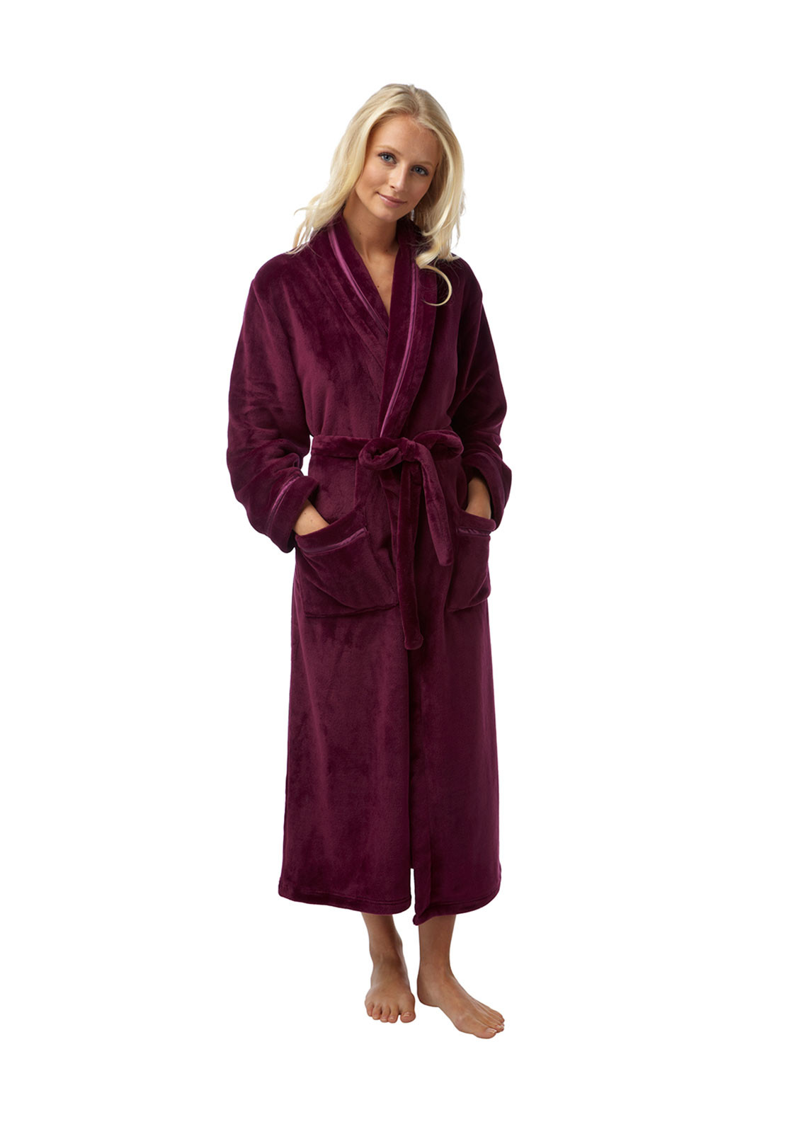 Indigo Sky Wrap Over Terry Dressing Gown, Plum