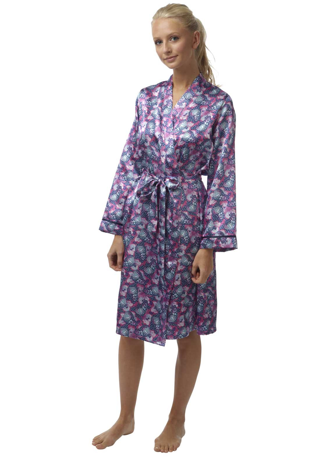 Indigo Sky Butterfly Print Dressing Gown, Multi-Coloured