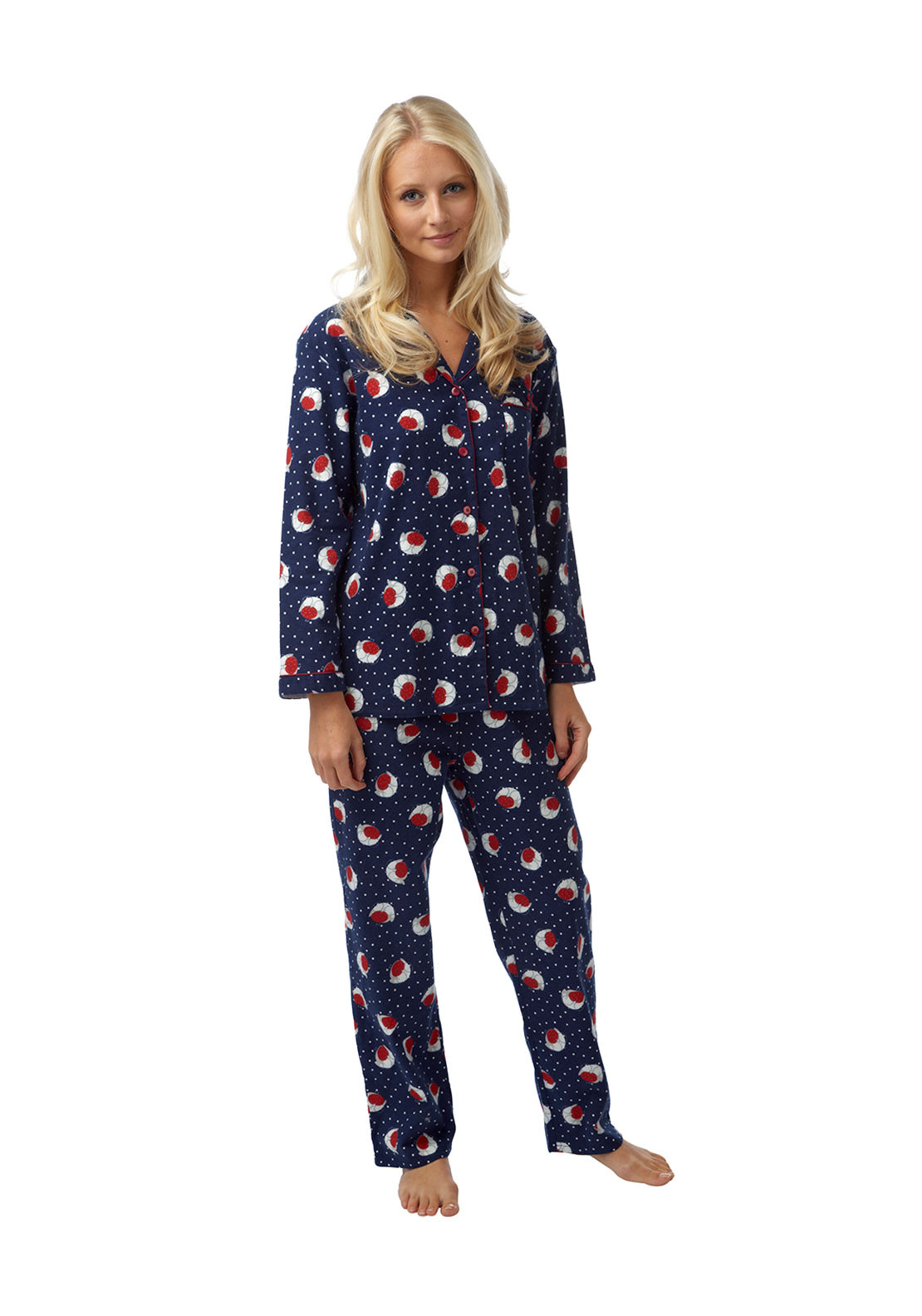 Indigo Sky Robin Print Brushed Cotton Pyjama Set, Navy