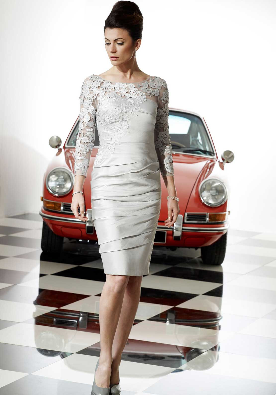 Irresistible Applique Pencil Dress, Platinum