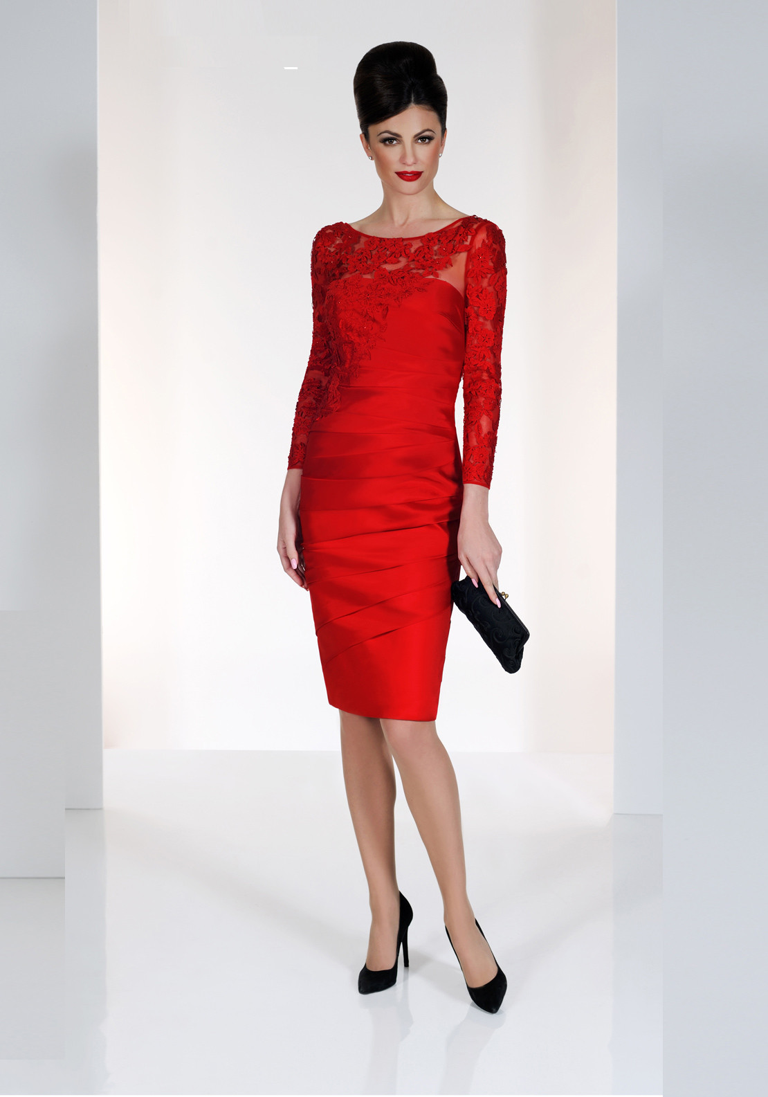 Irresistible Applique Pencil Dress, Red