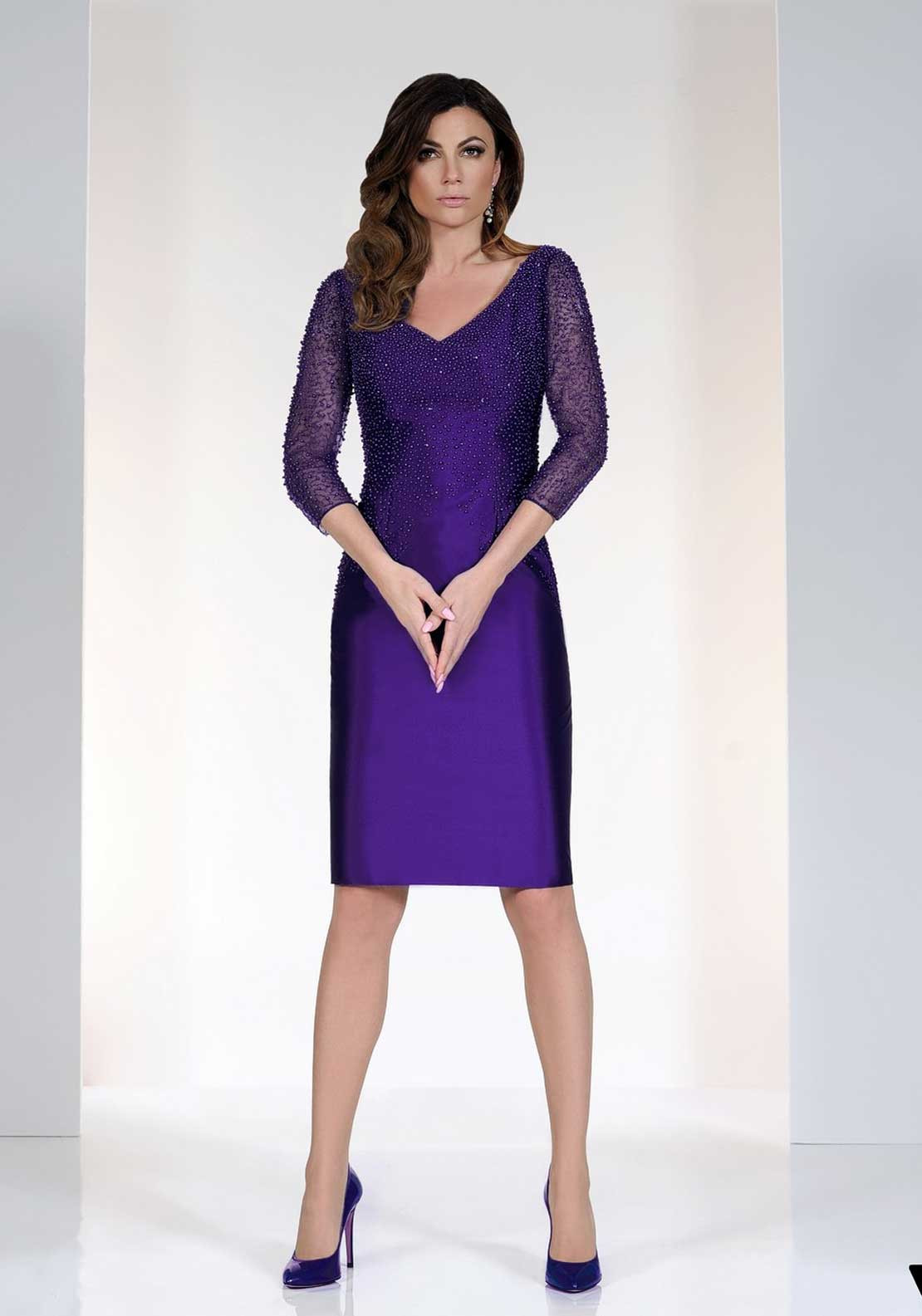 Irresistible Beaded Pencil Dress, Purple