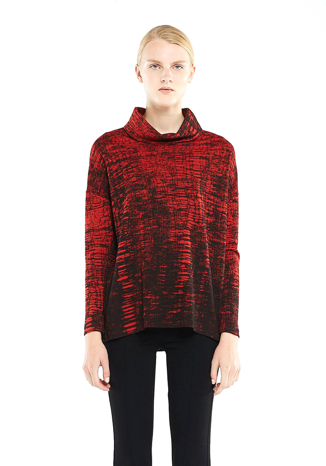 Isabel de Pedro Printed Turtle Neck Jersey Sweater Jumper, Red and Black