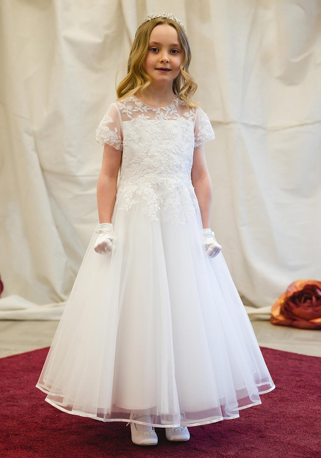 Isabella IS21943 Lace Bodice Tulle Communion Dress, White