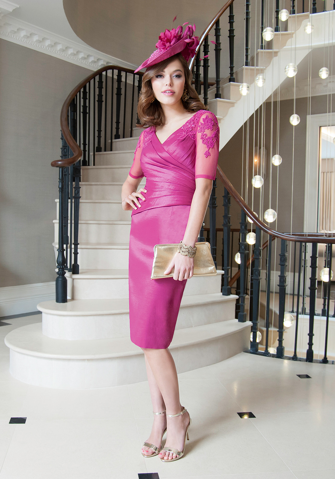 Ispirato Embellished Mesh Sleeve Ruched Dress, Fuchsia Pink