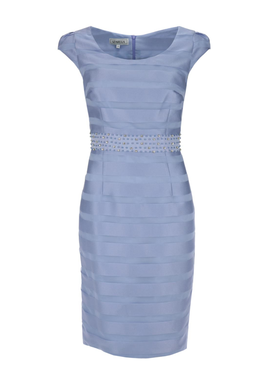 Izabella Organza Striped Cap Sleeve Pencil Dress, Pale Blue