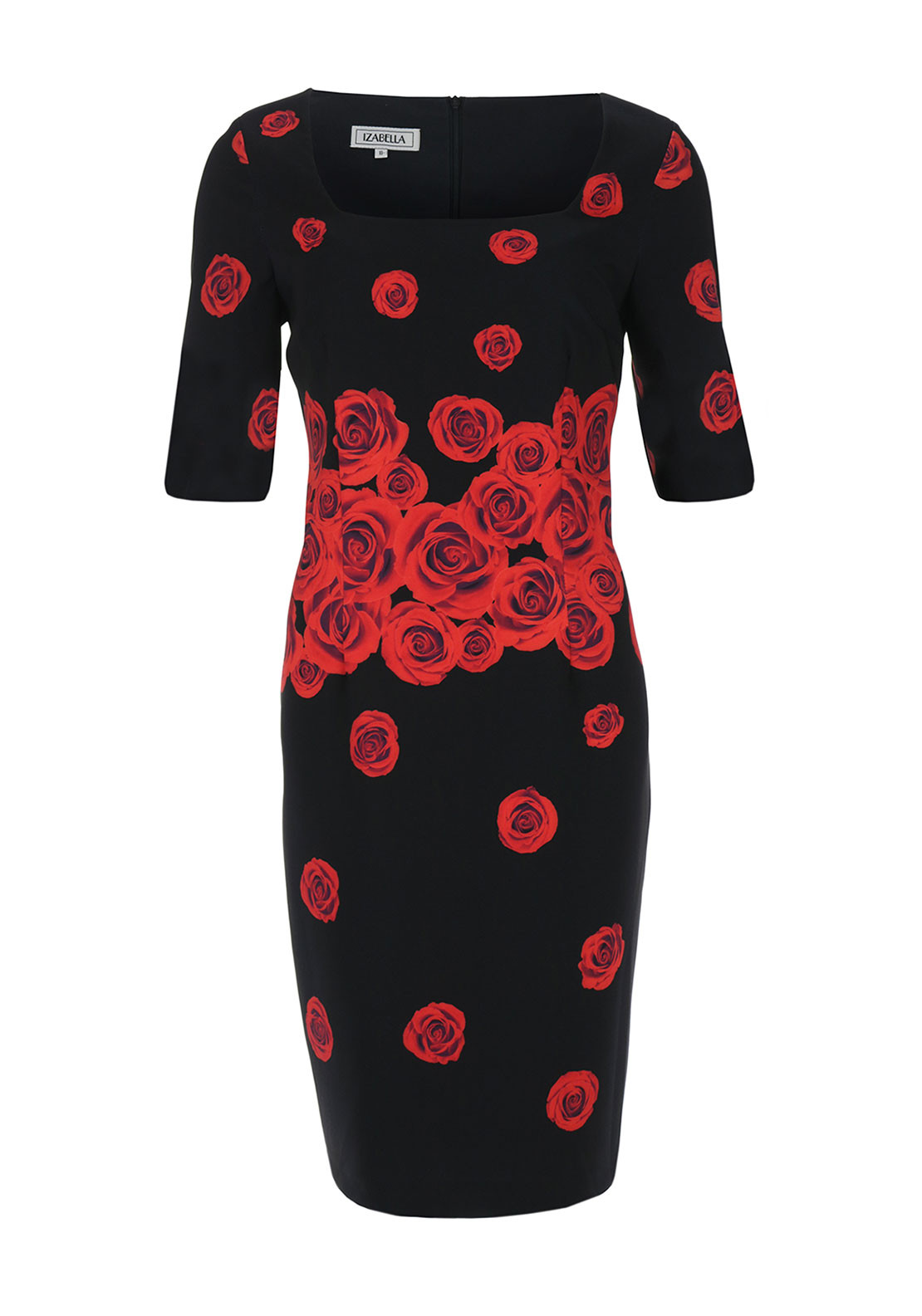 Lizabella Rose Print Pencil Dress, Red and Black