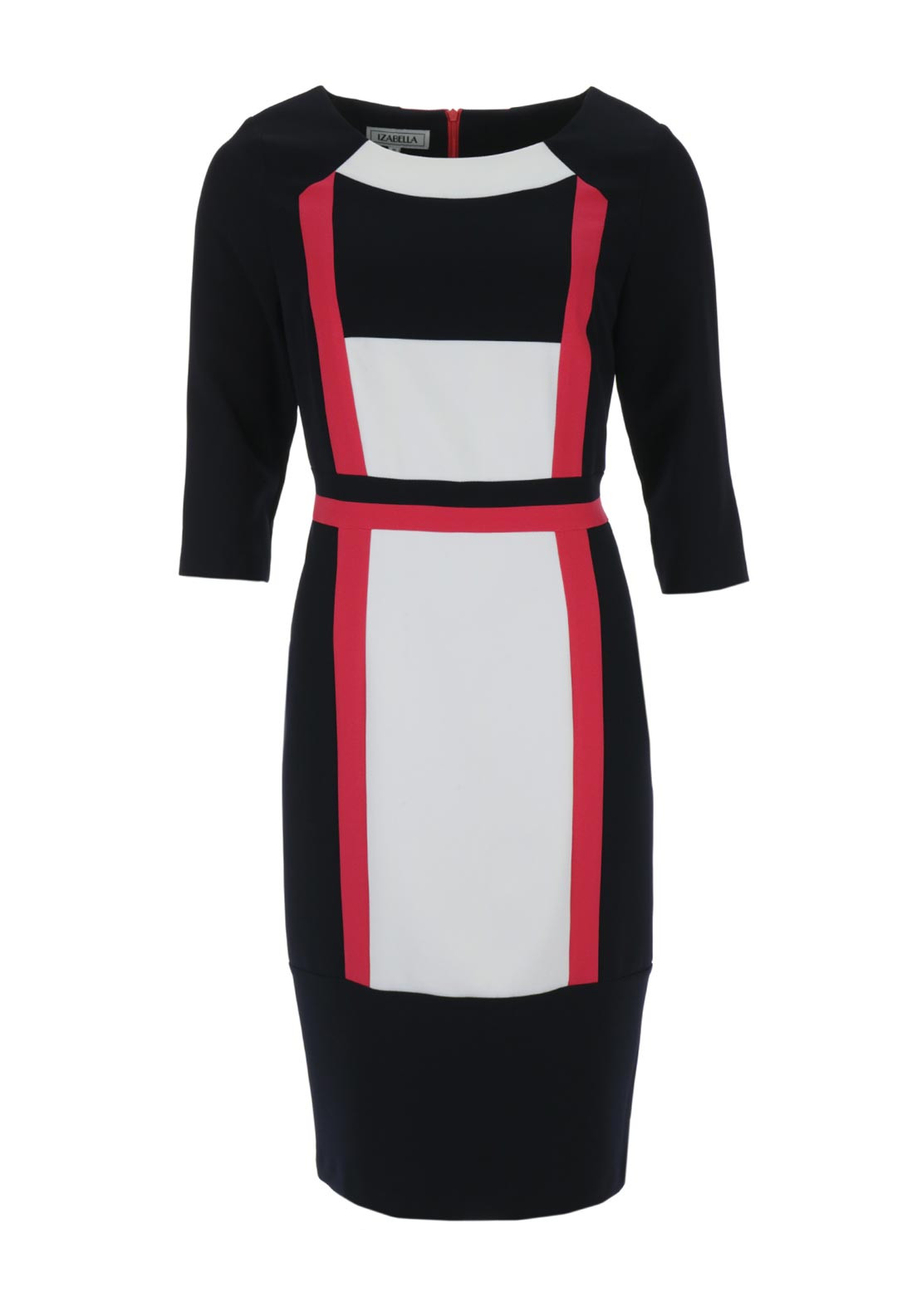 Izabella Colour Block Cropped Sleeve Pencil Dress, Black Multi