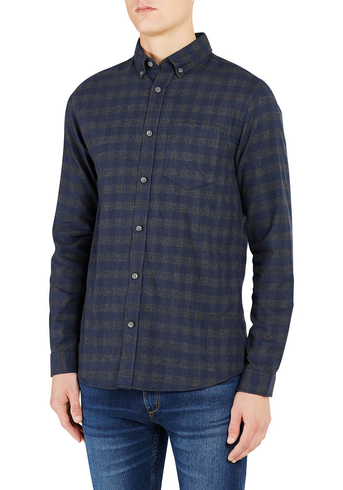 Jack & Jones Originals Mens William Checked Shirt, Navy