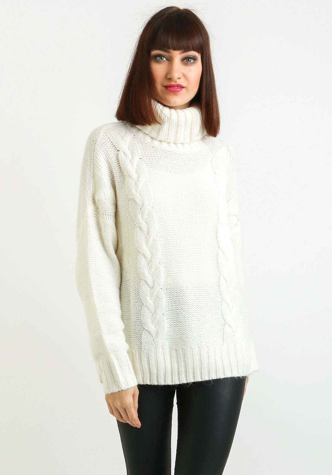 fa1536ed47c276 Only Rogue Roll Neck Knit Jumper, Cream. Be the first to review this product
